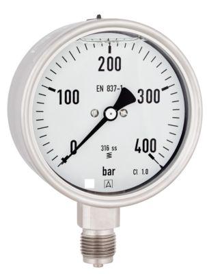 Erik Færgemann Manometer 0-6bar ø100 mm. Rustfri/syrefast. Med glycerin kl. 1