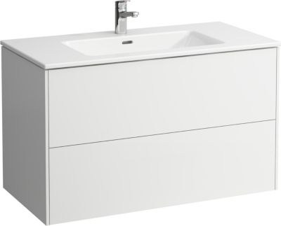 Laufen Base møbelpakke 100cm inklusiv pro-s slim håndvask. Med 2 skuffer. Mat hvid