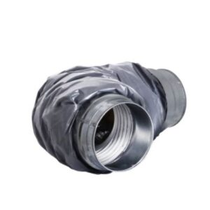 fleksibel Lyddæmper ø125mm x 1000 mm 25 mm isolering. Muffe tilslutning. PE udvendig