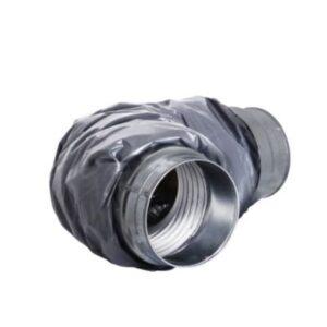 fleksibel Lyddæmper ø125mm x 600 mm 25 mm isolering. Muffe tilslutning. PE udvendig