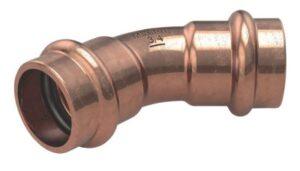B MaxiPro kobberpress Bøjning 1/4''. 45gr. Muffe-muffe. Op til 48 bar driftstryk. Pose a 3 stk.