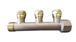 fordelerrør 3/4'' med 3x1/2'' grene inkl. 15 mm omløber. Bronze