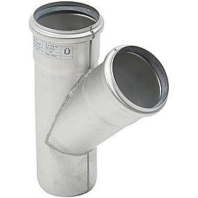 Blücher EuroPipe grenrør 45°. 75 mm. Rustfrit stål