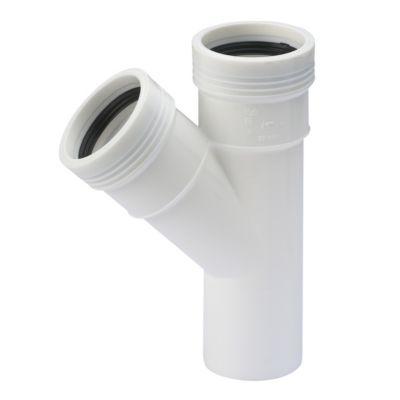 Wavin Wafix PP grenrør 50-50mm. 45°. Hvid