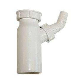 PP tilslutningsrør Ø50 mm x 1.1/2''. Til vask med prop. Hvid.