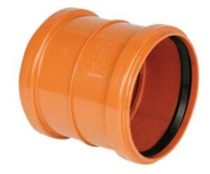 PVC dobbeltmuffe 160mm. Med kort indstiksmuffe EN1401
