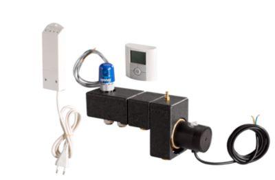 Uponor Fluvia minishunt T PUSH 12 WL-X med tråløs termostat og telestat. Komplet inklusiv isolering