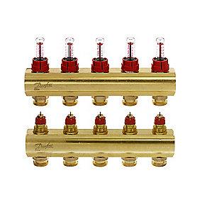 Danfoss FHF-5F gulvvarmemanifold 5+5 med flowmeter