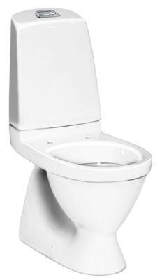 Gustavsberg 5500L Nautic wc med skjult S-lås til gulvmontering. 2/4ltr. C+. Krom trykknap.