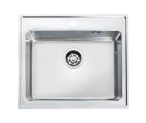 Juvel Omnia 600SF køkkenvask 595x510x180mm med strainer & hanehul. Rustfrit stål