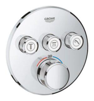 GROHE Smartcontrol termostat 3 funktioner til indbygning. Rund