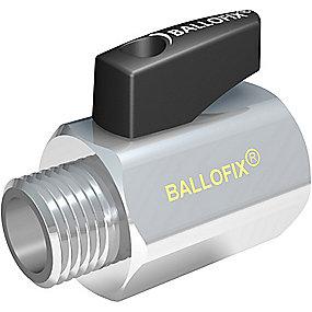 Broen Ballofix kuglehane 1/2x3/8''. Med håndtag. Muffe-nippel. Krom