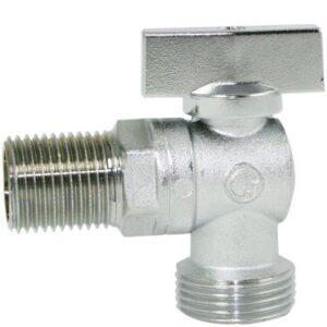 Mini 040K vinkelventil med kontra 1/2'' x 3/4''. lang model. Nippel-nippel. Forkromet