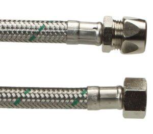 Neoperl Softpex tilslutningsslange 200 mm. 3/8 L x 10 mm. Rustfri flet. Koldt & varmt vand DN8