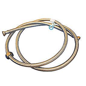 Neoperl tilslutningsslange 1500 mm. 1/2 X 3/4. til varmt vand. rustfri stålomflet